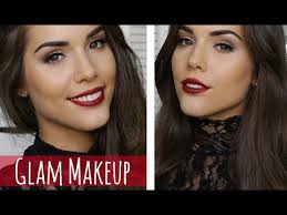 easy holiday glam red lips brown eyes makeup tutorial