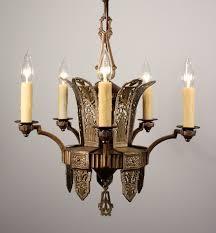 sold splendid antique art deco five light chandelier in bronze brass c