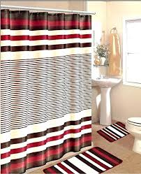 bathroom shower curtain sets amazing red white line bath rug set