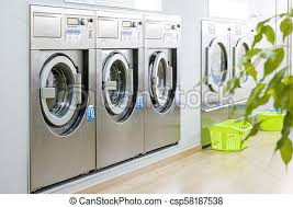 row of washing machines. Modren Row Public Laundry With Modern Silver Washing Machines  Csp58187538 Inside Row Of Washing Machines F