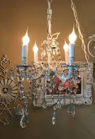 vintage antique petite shabby chic small solid brass chandelier made in spain 4 arm dripping in