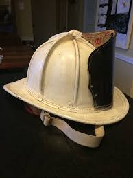 vintage cairns brother fire fighter leather helmet white painted