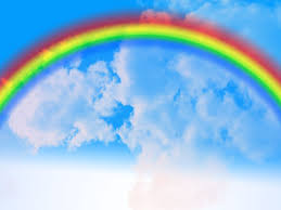 natural rainbow with clouds image