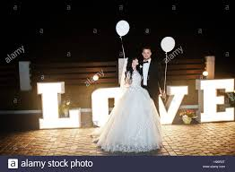 Wedding Love Lights Stylish Wedding Couple With Lights Balloons Stay Near Great