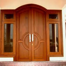Double Glazed Wooden Front Doors Accessories Dark Brown Wood French ...
