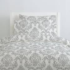 gray painted damask duvet cover