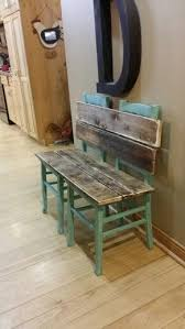 diy bench from two chairs. rustic bench painted and distressed in aqua. made from old chairs. i love this diy two chairs