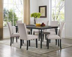 biony 7 piece espresso wood dining set with tan fabric nail head chairs