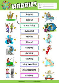 hobbies for kids. hobbies esl matching exercise worksheet for kids n