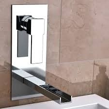 bathroom faucet chrome waterfall wall mount sink lavatory moen single handle