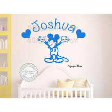 personalised mickey mouse nursery wall sticker baby boy girl bedroom playroom decor decal on personalised baby boy wall art with personalised mickey mouse nursery wall sticker baby boy girl