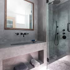 small concrete floor bathroom