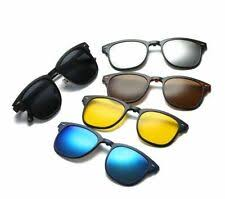 5 Pack <b>Magnetic</b> Clip on <b>Polarized Sunglasses</b> + Metal Eyeglass ...