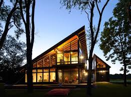 House design  Wooden houses and Modern lake house on Pinterest