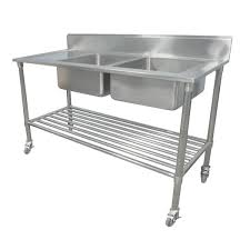 portable commercial kitchen sink bench stainless steel w wheels castors 304