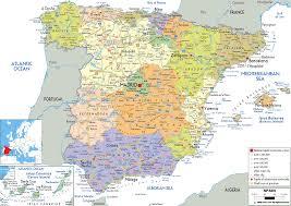 detailed political map of spain  ezilon maps