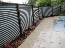 Wonderful Sheet Metal Fence Hardwood Posts And Colorbond Corrugated On Decorating Ideas