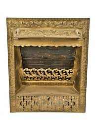 exceptional metallic gold enameled 19th century patented interior residential dawson cast iron residential fireplace gas insert