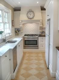 Apartment Galley Kitchen Kitchen Cabinets Antique White Cabinets With Oak Trim Small