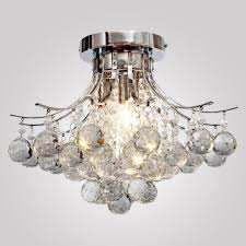 loco chrome finish crystal chandelier with 3 lights mini style flush mount