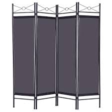 Folding Screen 4 Panels Metal Frame Room Private Folding Screen Room Dividers