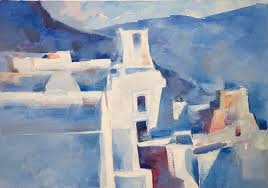 greek oil painting by famous contemporary greek artist of traditional santorini architecture mixing into the endless