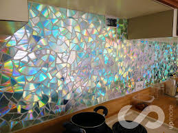 picture of how to use old cds for mosaic craft projects diy kitchen backsplash