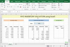 format of inventory fifo inventory valuation in excel using data tables pakaccountants com