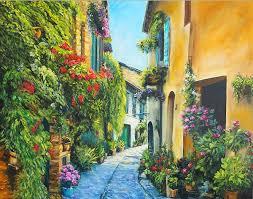 Купить <b>репродукцию</b> картины <b>Цветочная</b> улица в Италии