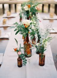 Glass Jar Table Decorations Glass Bottles Fill In As Gorgeous Wedding Centerpieces 75