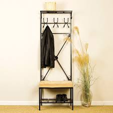 Hallway Furniture Coat Rack Furniture Black Metal Frame Entryway Bench For Small Spaces With 82