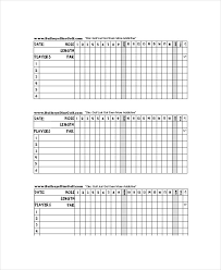 Score Card Template Golf Scorecard Template 8 Free Word Excel Pdf Documents