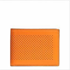 Coach Men s Slim Billfold ID Wallet Orange in Perforated leather - F75227   Coach  Bifold