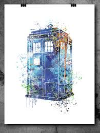 tardis from dr who print abstract watercolor poster blue wall art ilration wall decor mixed media nursery wat art decor