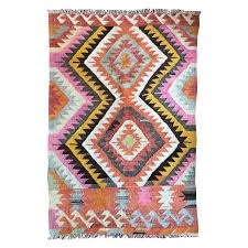 turkish kilim flat weave tribal rug with diamond geometric patterns in pink yell for at 1stdibs