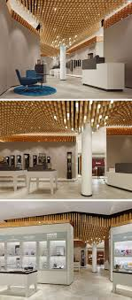 modern ceiling design idea 4362 square wooden dowels cover the ceiling of this watch showroom