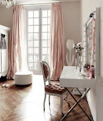 blush pink dressing room with long ds curtains