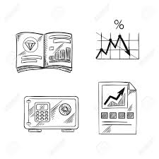 Line Chart Sketch Finance Investment And Banking Sketch Icons With Financial Bar