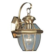 livex lighting 2051 01 monterey 1 light outdoor antique brass finish solid brass wall lantern with clear beveled glass wall porch lights com
