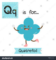 Letter Q cute children colorful geometric shapes alphabet tracing flashcard  of Quatrefoil for kids learning English