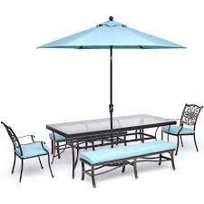 traditions 5 piece aluminum outdoor dining set with blue cushions with 2 benches xl glass top table umbrella and base