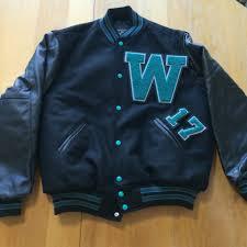 woodstock north thunder men s or uni leather sleeve wool jacket