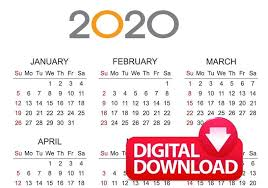 Plain Calendar 2020 2020 Calendar Digital Download Pdf Plain Horizontal