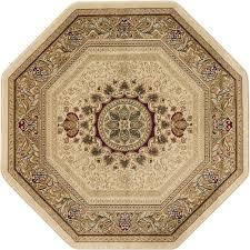 tayse rugs sensation beige 8 ft traditional octagon area rug