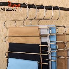 2 pcs s type stainless steel rack 5 layers pants hangers intl