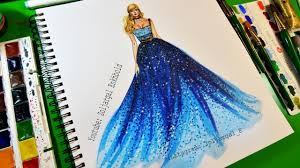 Youtube Fashion Design Sketches Fashion Sketch Painting Ocean Blue Ombre Dress Painting Tutorial For Beginners