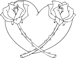 heart rose coloring pages printable awesome hearts and roses page amy pictures of free