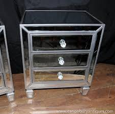 Mirrored Side Tables Bedroom Mirrored Table With Drawers Silver Mirrored Glass Bedroom 3drawer