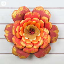 Cardstock Paper Flower Red And Gold Paper Flowers With A Printable Template Country Hill