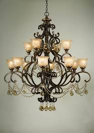 12 lights chandelier w amber glass pattern